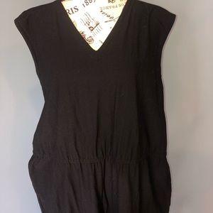 Eileen Fisher black V-neck washable crepe jumpsuit